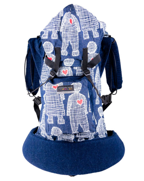 African Baby Carrier Newborn Denim Boy heart