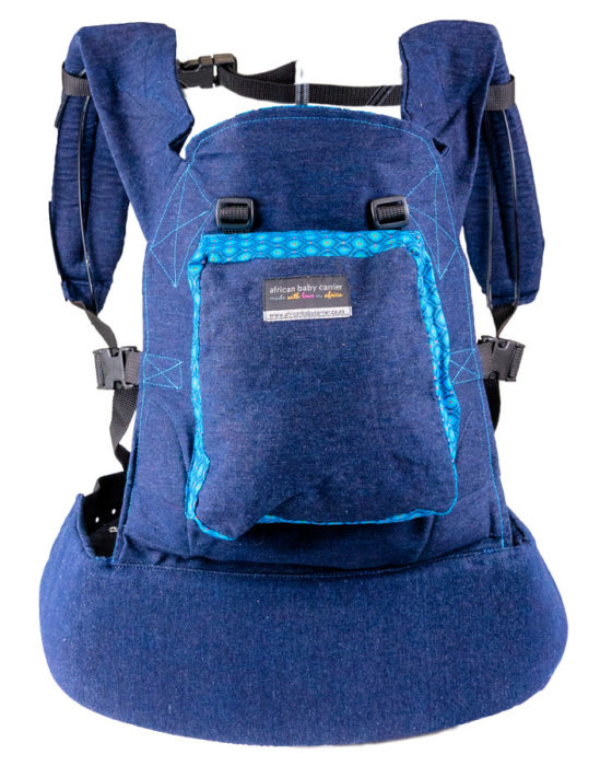 African Baby Carrier Denim colourful Shweshwe