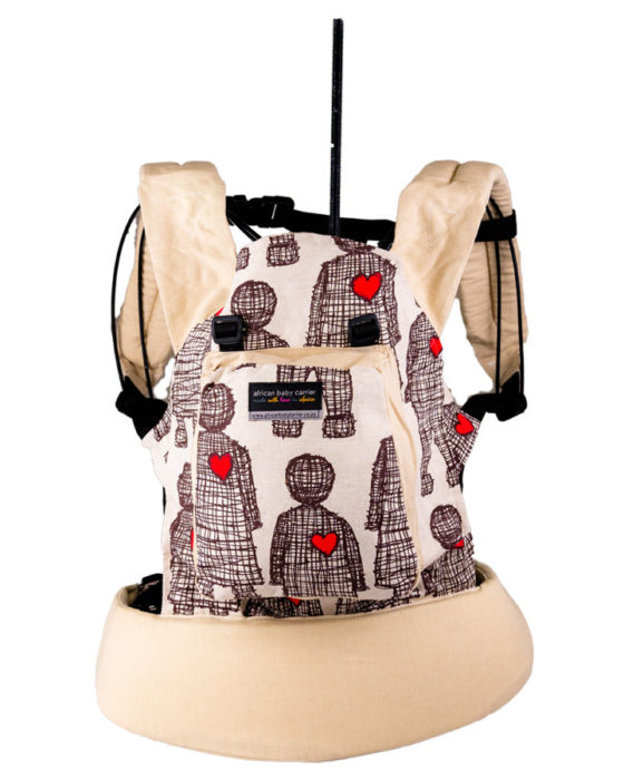 African Baby Carrier Hemp Boy heart Beige